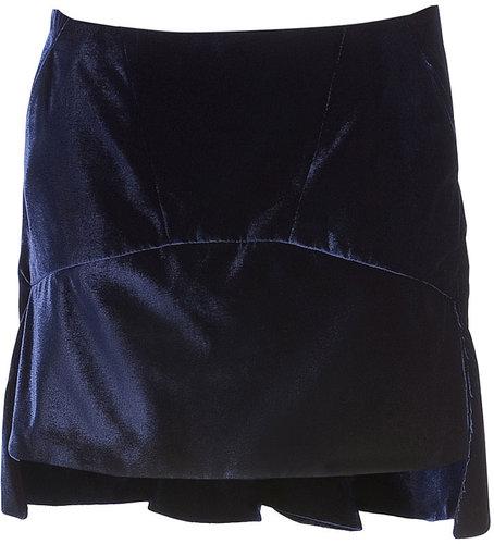 Givenchy Night Blue Velvet Skirt