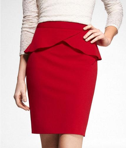 High Waist Studio Stretch Peplum Pencil Skirt