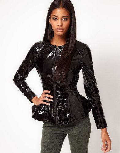 ASOS Hi-Shine Leather Peplum Jacket