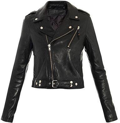 Blk Dnm Cropped biker leather jacket