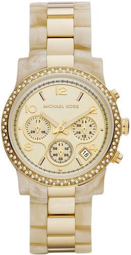 Michael Kors Watch, Women's Chronograph Horn Acetate and Gold Tone Stainless Steel Bracelet 40mm MK5582