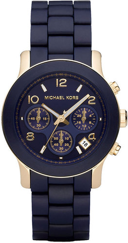 Michael Kors Watch, Women's Runway Navy Blue Polyurethane-Wrapped Gold-tone Stainless Steel Bracelet 38mm MK5316