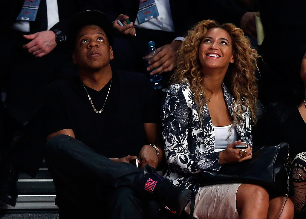 Beyoncé and Jay-Z were looking pretty pleased with something at the NBA All-Star Game in Houston on February 18.