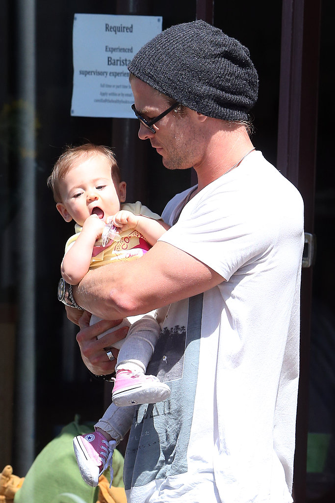 Chris Hemsworth and his baby daughter India (his wife Elsa Pataky was there, too!) took in the sights around Sydney's Northern Beaches on February 18.