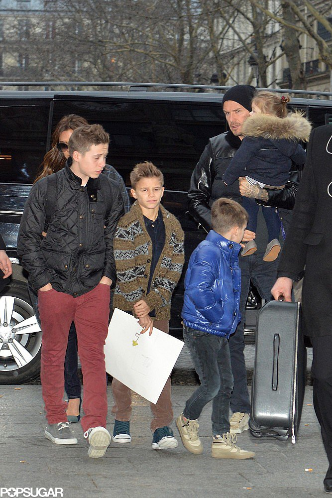 David Beckham and his brood prepared to travel the Eurostar in London in February.