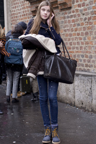 Winter classics were made even more appealing with dapper lace-ups and a shearling-lined jacket.