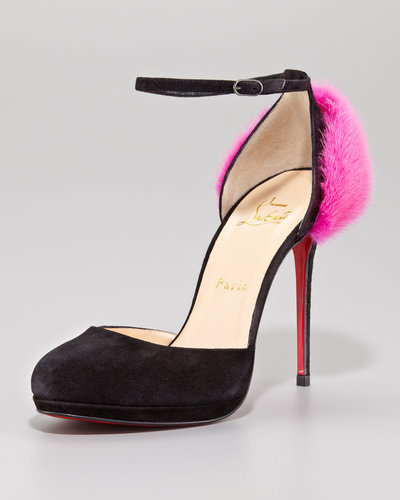 Christian Louboutin Crazy Fur Suede Red Sole Pump