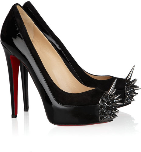 Christian Louboutin Asteroid 140 suede and patent-leather pumps