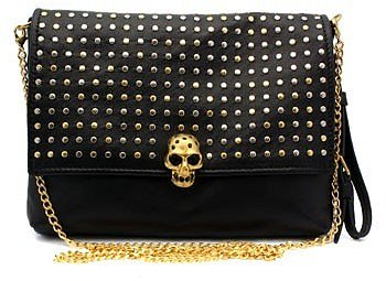 Alexander McQueen Studded Black Leather Clutch