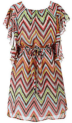 2 Hip by Wrapper 7-16 Chevron Print Chiffon Dress
