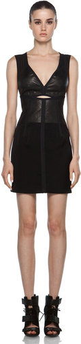 Alexander Wang Fitted Cut Out Leather Dress in Black