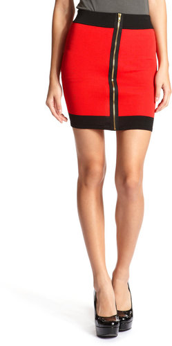 Zip-Front Color Block Skirt