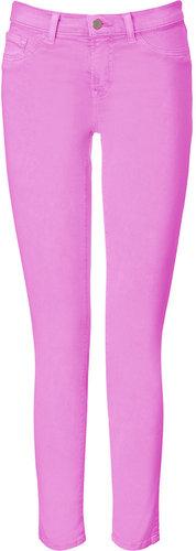 J Brand Jeans Neon Purple Mid-Rise Skinny Leg Pants