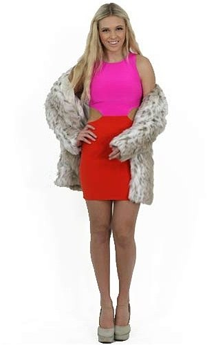 Naven Cut Out Dress in Pink and Orange Crush