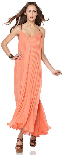 BCBGMAXAZRIA Dress, Edita Sleeveless V Neck Pleated Faux Leather Straps Racerback Maxi