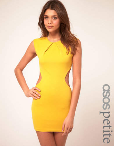 ASOS PETITE Exclusive Dress with Cut Out Sides and Pleat Neck Detail