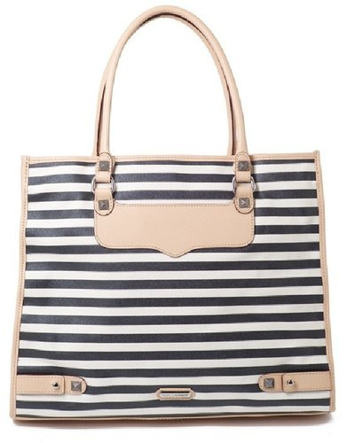 Rebecca Minkoff Striped Canvas Diamond Tote