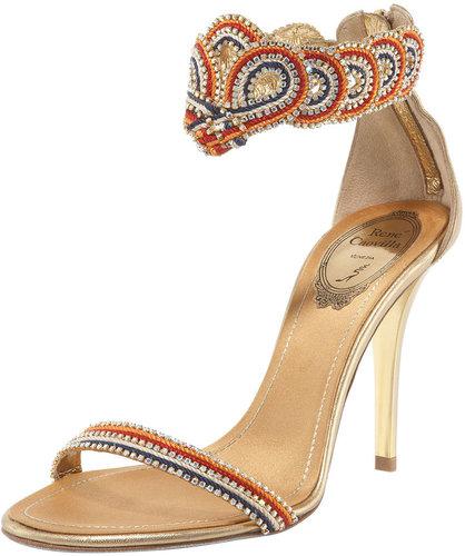 Renee Caovilla Ankle-Wrap Zip Sandal