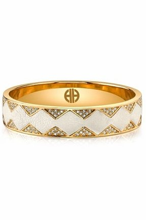 House of Harlow 1960 14KT Gold Crystal Pave Bangle with Cream Leather
