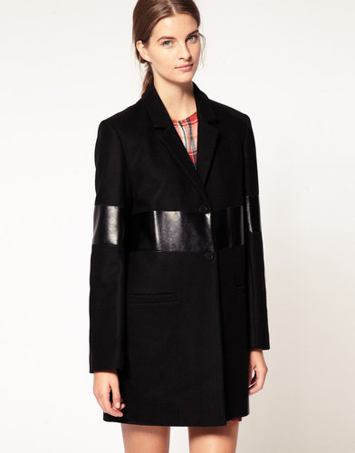 Karen Walker Wool Coat with Vinyl Panelling