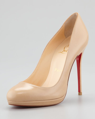 Christian Louboutin Filo Platform Red Sole Pump, Beige