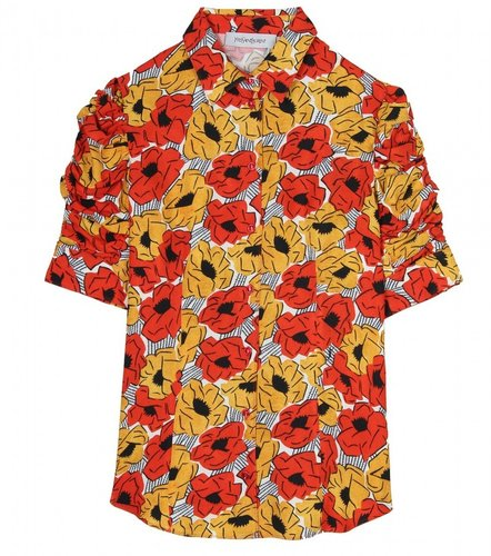 Saint Laurent POPPY PRINTED CREPE SHIRT