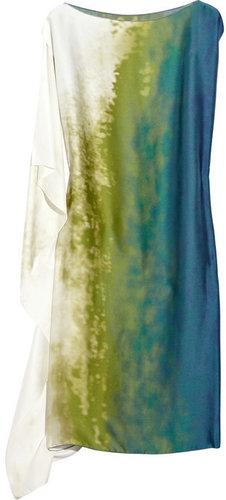 Bottega Veneta Asymmetric printed silk tunic dress