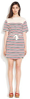 Striped drawstring tee dress