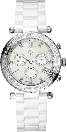 Gc Swiss Made Timepieces Watch, Women's Swiss Chronograph Diamond Bezel (1/2 ct. t.w.) White Ceramic Bracelet G01500M1