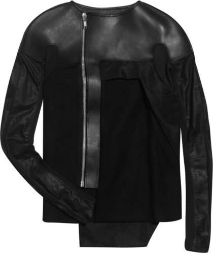 Rick Owens Melton wool-felt and leather jacket