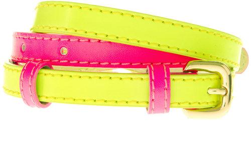 ASOS Color Block Fluro Belt With Double Buckle Detail