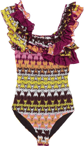Missoni Havra ruffled crochet-knit swimsuit