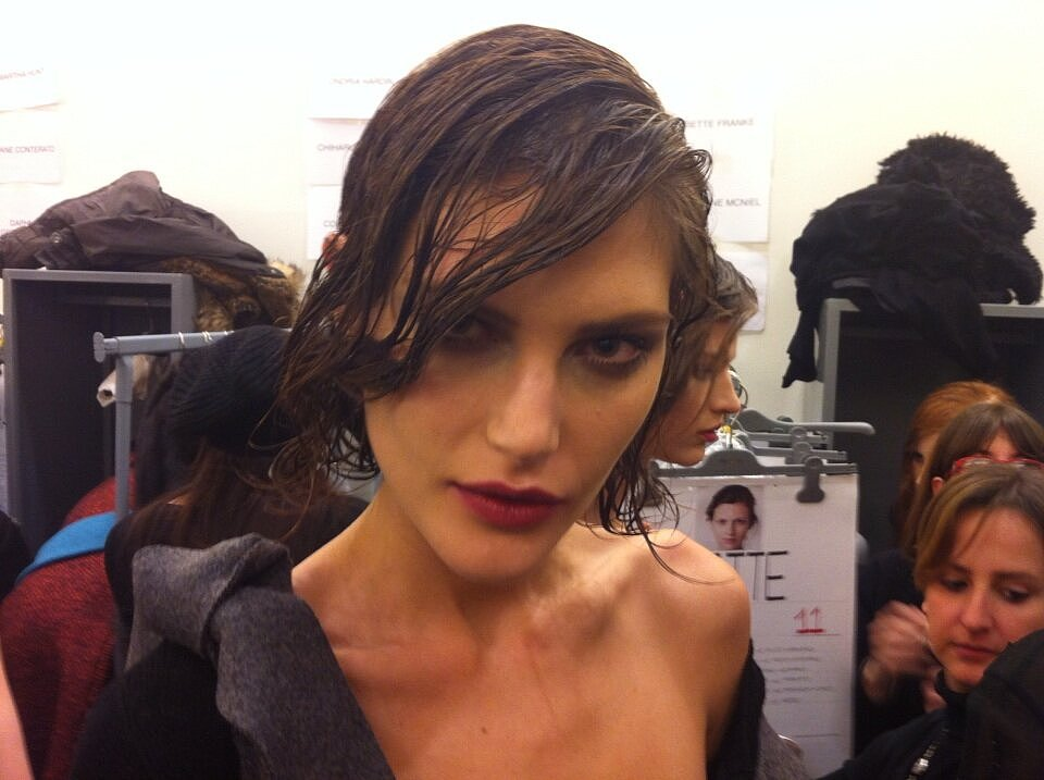 Catherine McNeil let us have a close-up of her beauty look backstage at Prada. Source: Twitter user ACGlamour