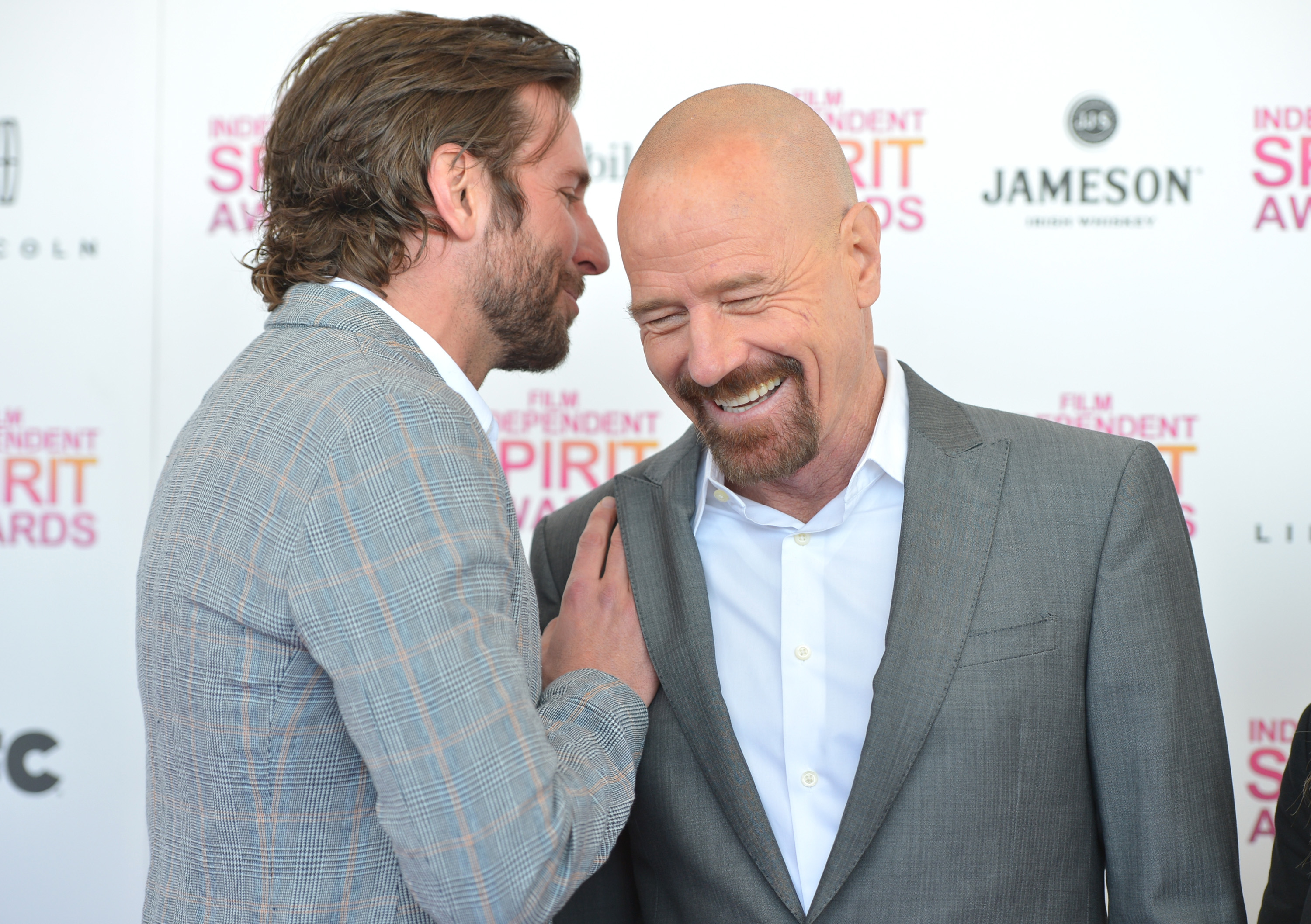Bradley Cooper chatted with Bryan Cranston before the Spirit Awards.