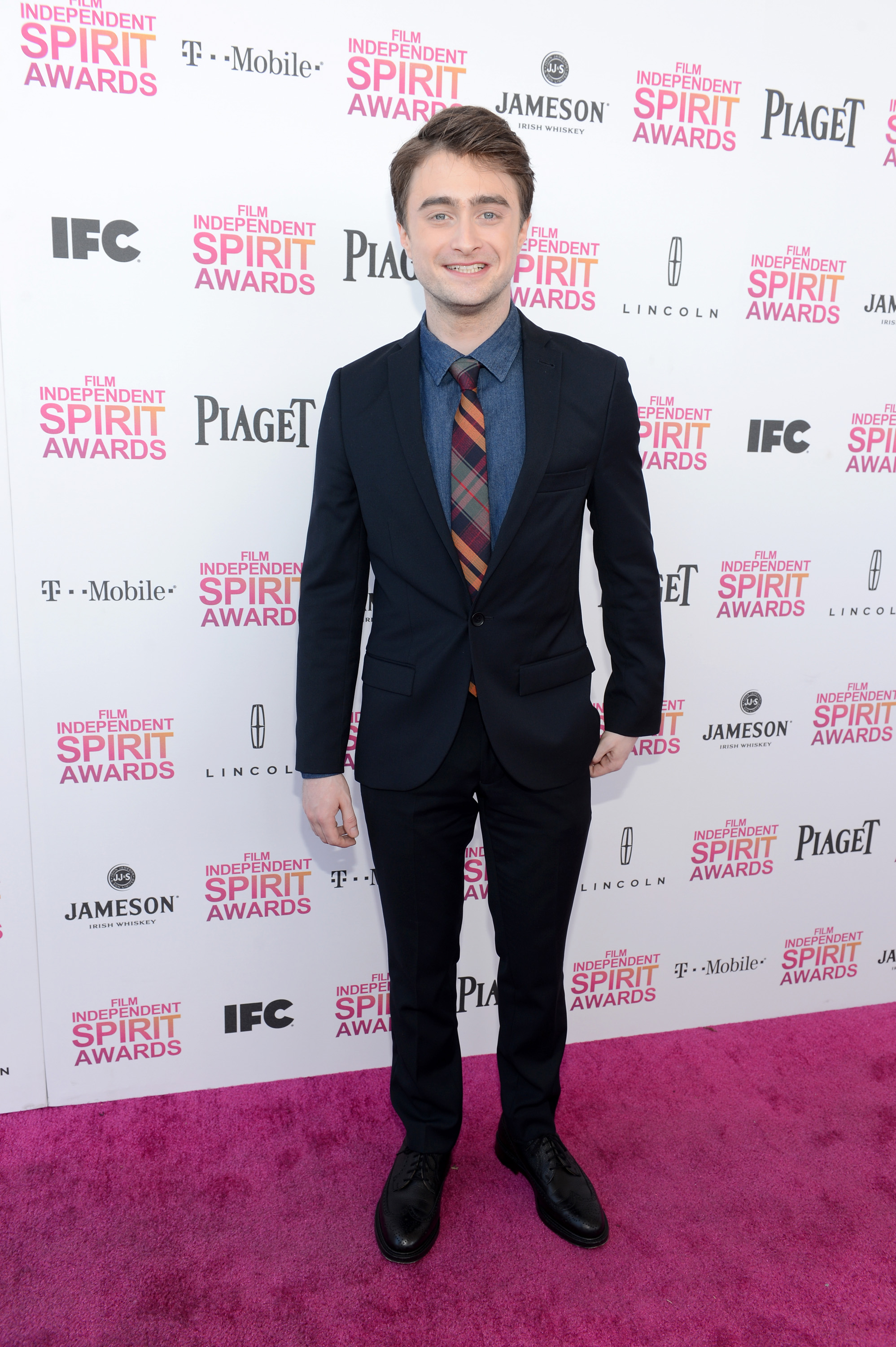 Daniel Radcliffe on the red carpet at the Spirit Awards 2013.
