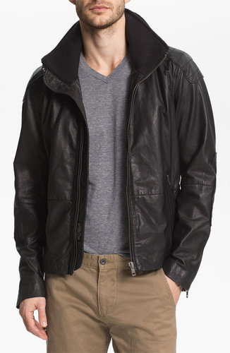 DIESEL 'Literal' Leather Jacket