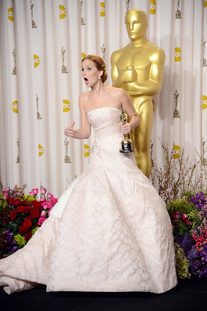 Jennifer Lawrence was captured in a candid moment after her best actress win.