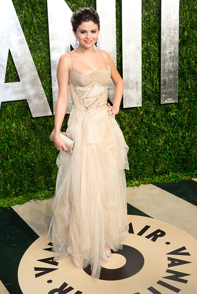 Selena Gomez arrived at the Vanity Fair Oscar party.