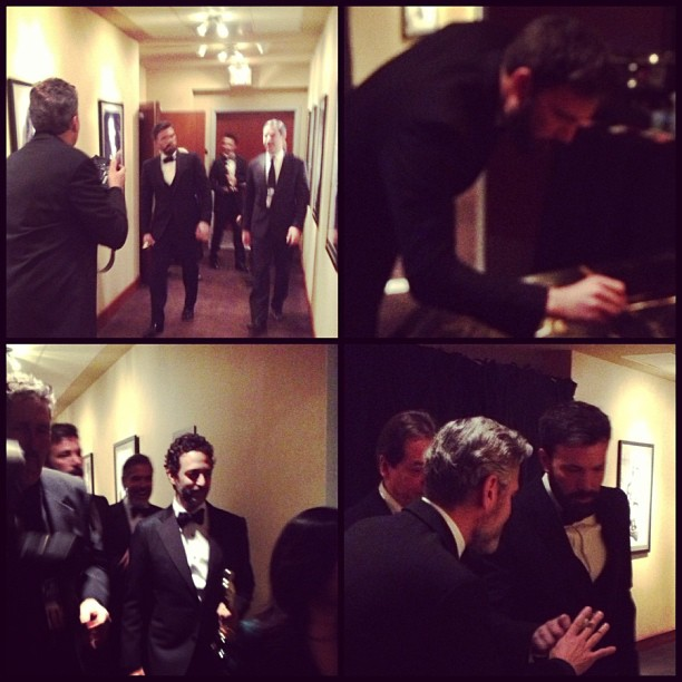 The Argo crew celebrated their big win backstage. Source: Instagram user theacademy