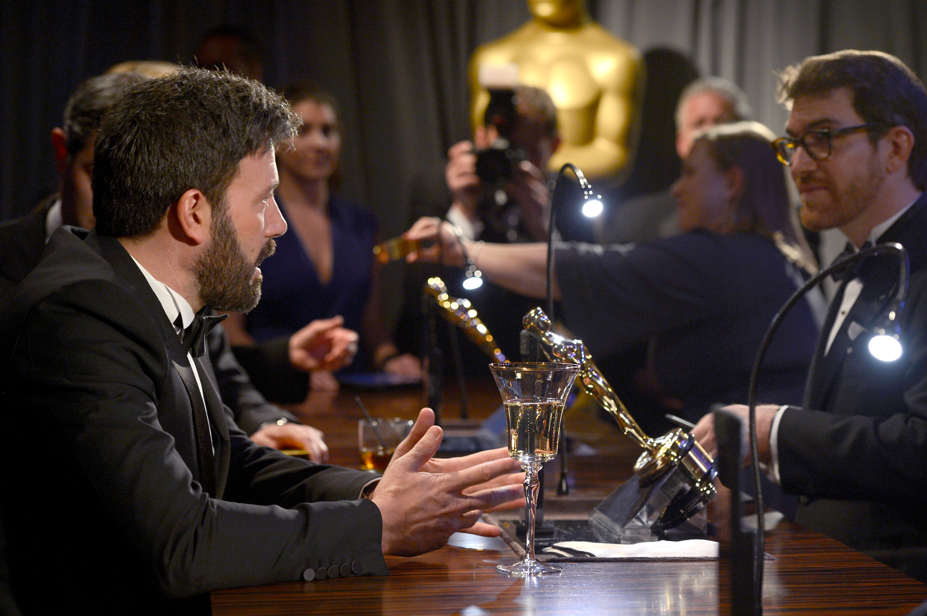 Ben Affleck brought his Oscar to the Governors Ball.