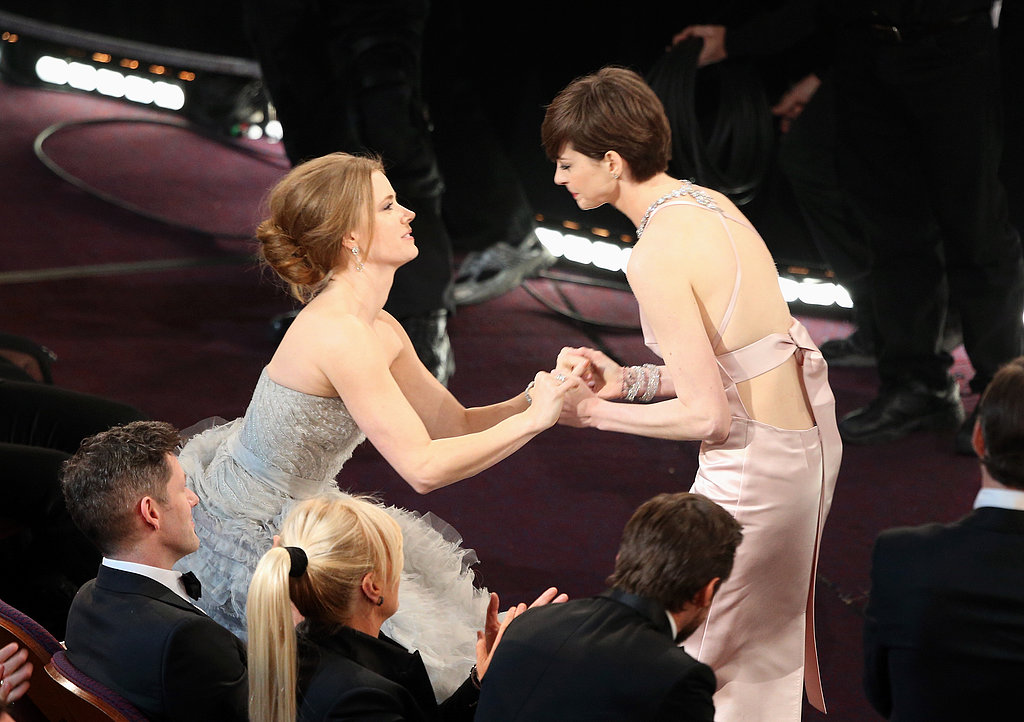 Amy Adams congratulated Anne Hathaway after her name was announced as the best supporting actress winner.