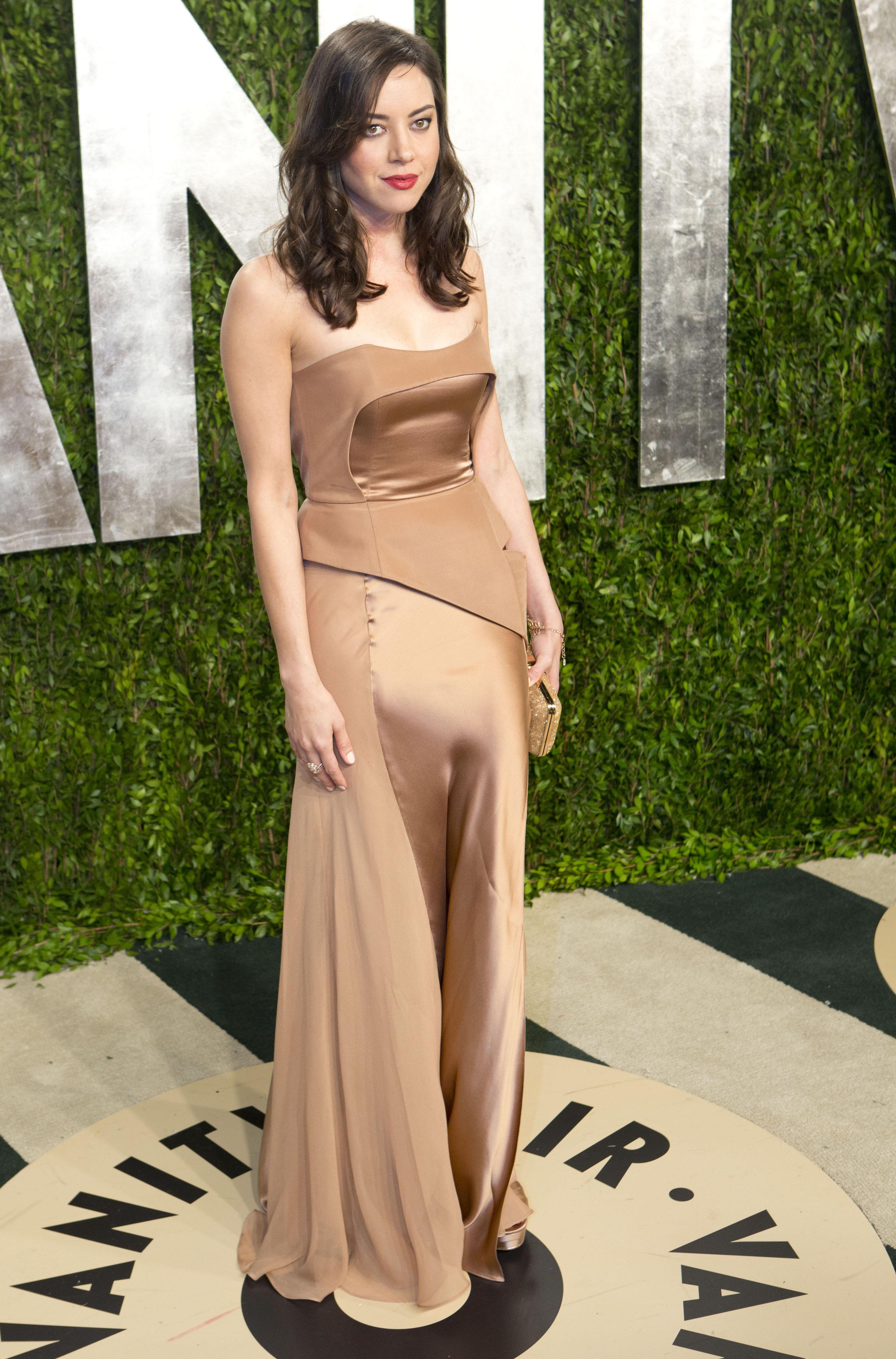 Aubrey Plaza arrived at the Vanity Fair Oscar party.