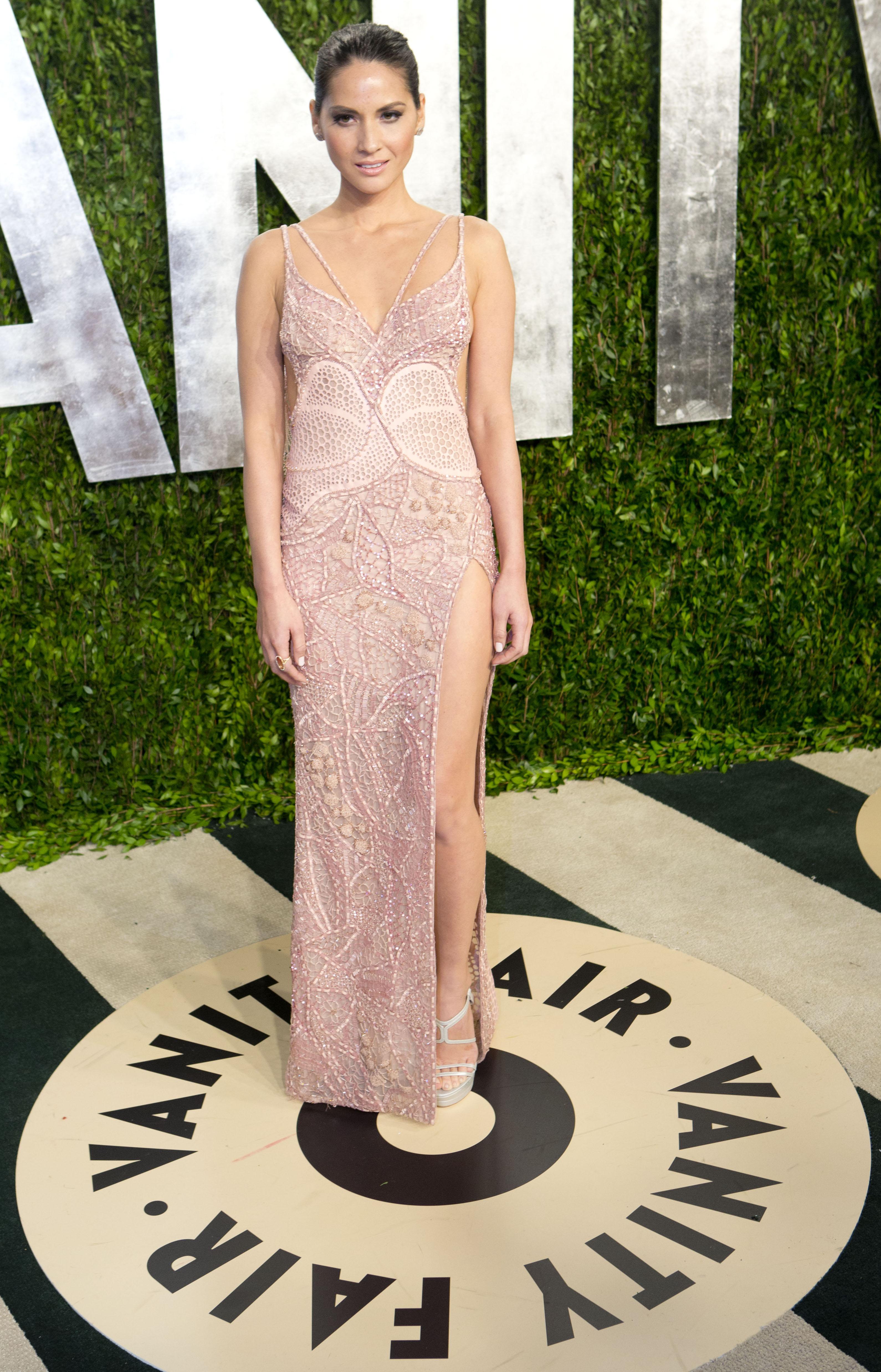 Olivia Munn arrived at the Vanity Fair Oscar party.
