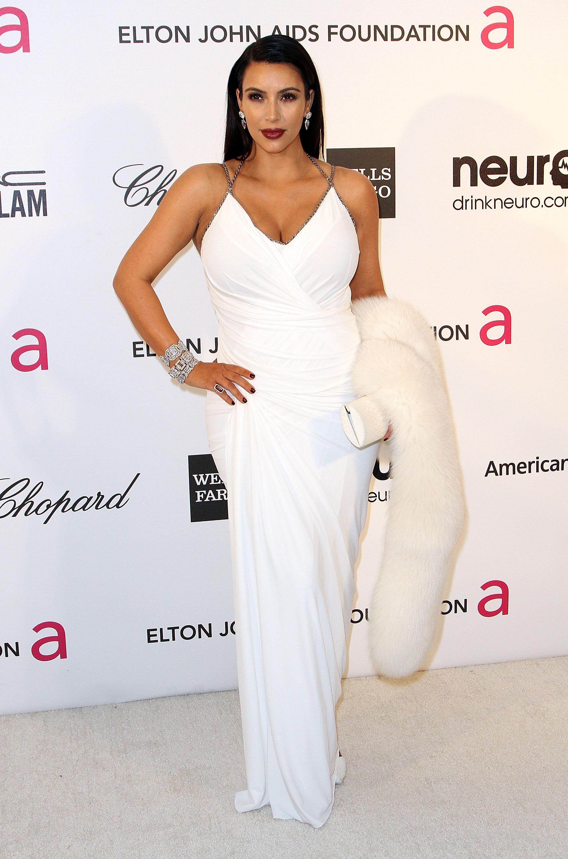 Kim Kardashian wore a white gown.