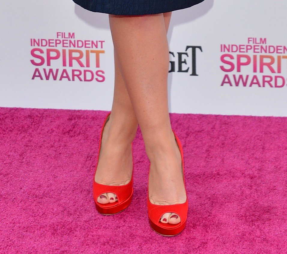It was a navy David Meister dress and red peep-toes for Amy Poehler at the Indie Spirit Awards.