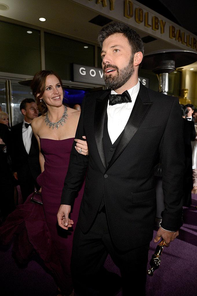 Jennifer Garner and Ben Affleck showed off their smiles leaving the Oscars.