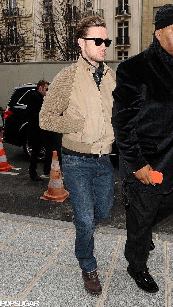Justin Timberlake walked in Paris.