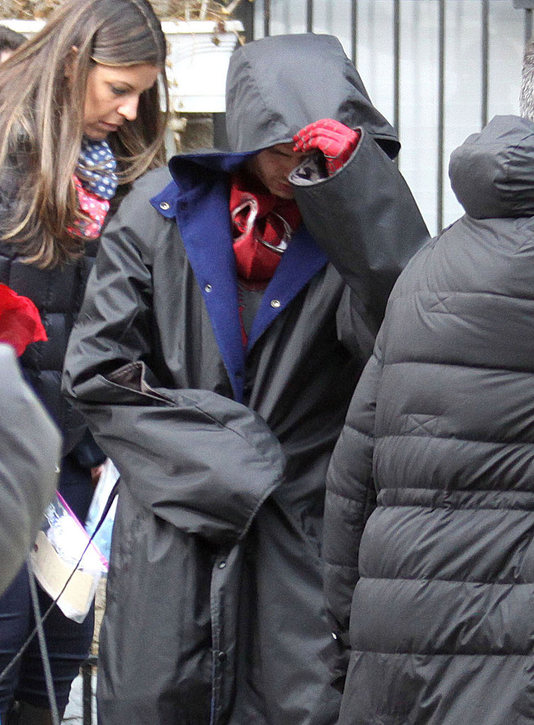 Andrew Garfield suited up in his Spider-Man wardrobe.