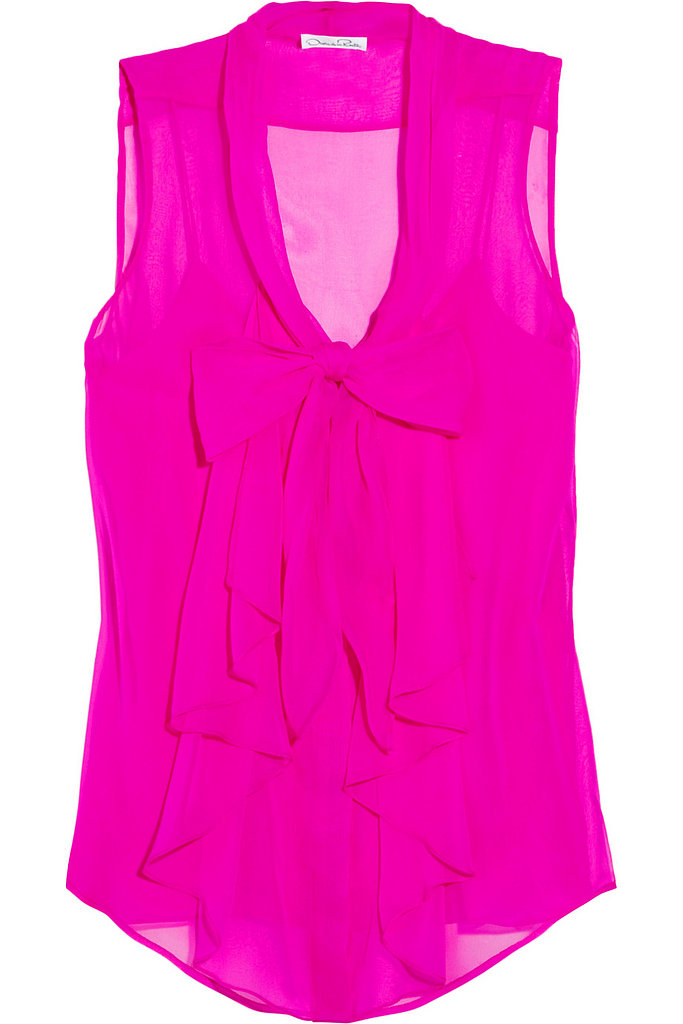 Oscar de la Renta for The Outnet silk-chiffon pussy-bow top