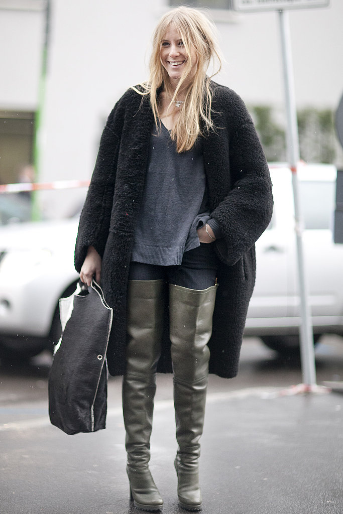 It was all about the boots — well, and that coat — in this high-impact look.
